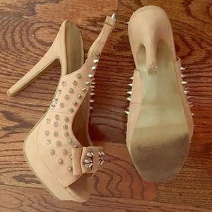 Gorgeous Comfortable Beige Studded Heels